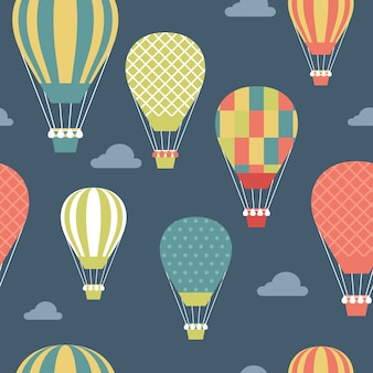 Pattern with colored hot air balloons