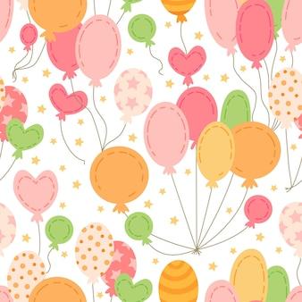 Образец с разноцветными воздушными шарами. на день рождения