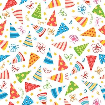 カラフルなバースデーキャップのパターン。誕生日パーティーに。