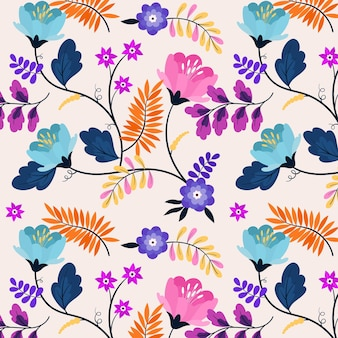 Pattern with colorful exotic flowers and leaves