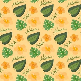 Узор с красочными экзотическими листьями и цветами