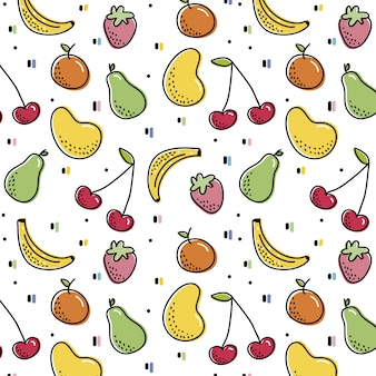 Pattern with colorful fruits