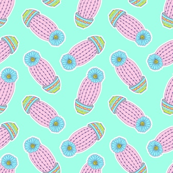Pattern with colorful hand drawn cactuses
