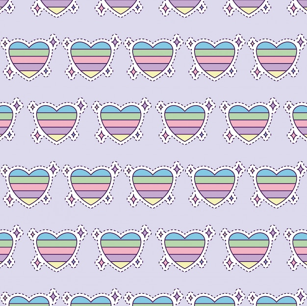 Pattern with colorful heart