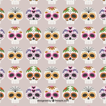 Pattern with colorful sugar skulls