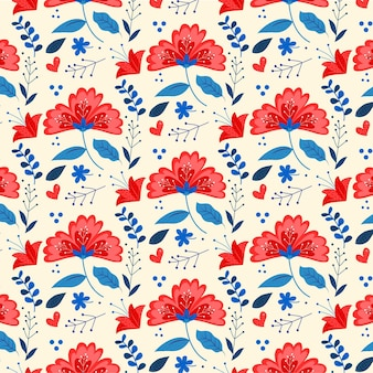 Pattern with colorful tropical flowers and leaves