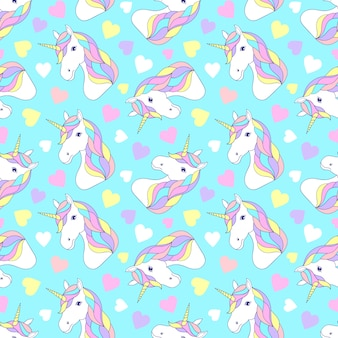 Pattern with colorful unicorns