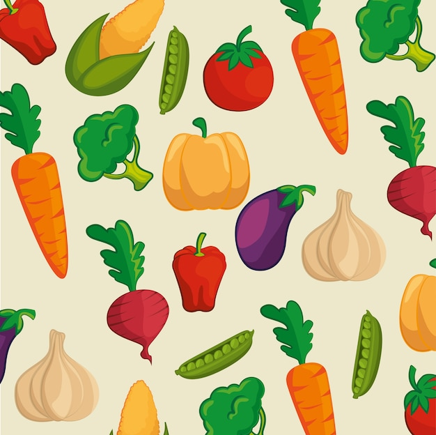 Pattern with colorful vegetables over beige background. vector illustration.