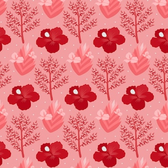 다채로운 이국적인 꽃과 잎 패턴