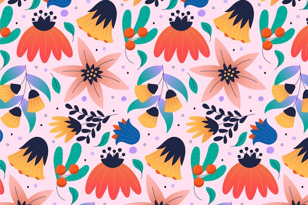 Pattern with colourful tropical flowers and leaves