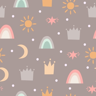 Pattern with crowns, stars and rainbows