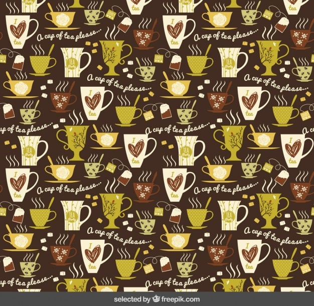 Pattern with cups of tea
