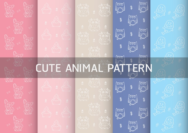 Pattern with cute animals vector such as dogs, ducks, owls and sea lions