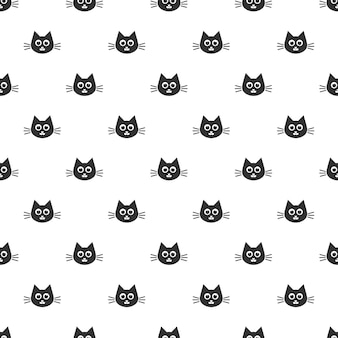 Pattern with the cute black cat heads