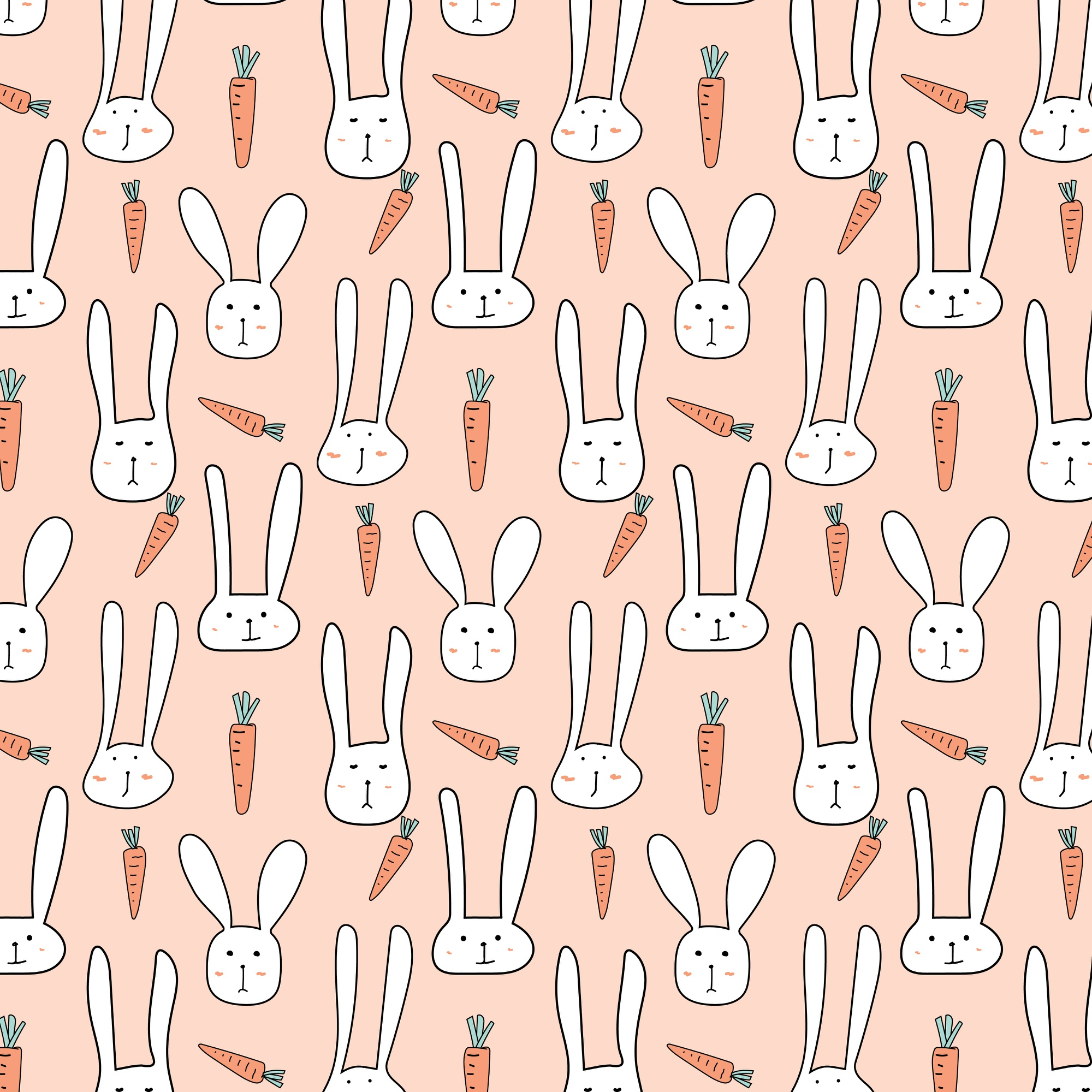 Pattern With Cute Bunnies And Carrots