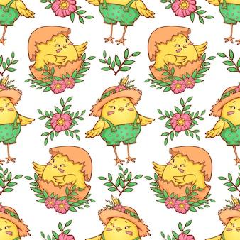 かわいい漫画のひよこと花のパターン