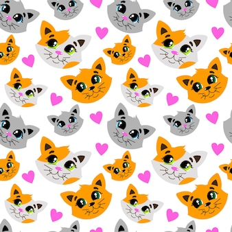 Pattern with a cute cat tricolor cat