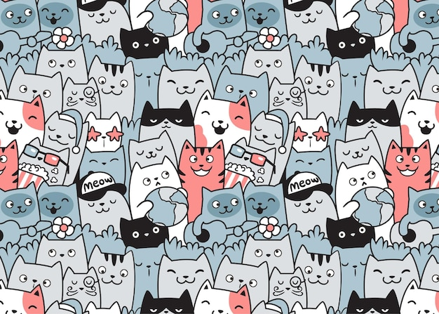 Pattern with cute cats doodle