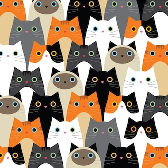 Pattern with cute cats idea
