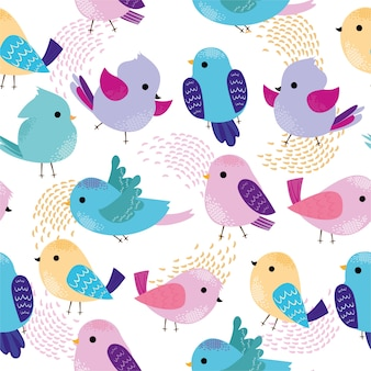 Pattern with cute colorful birds.