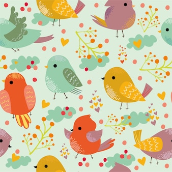 Pattern with cute colorful birds