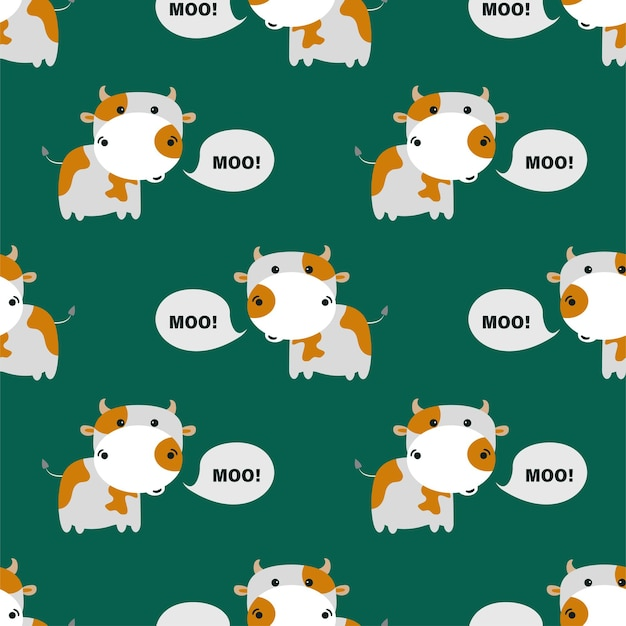 Pattern with cute cows. vector illustration.