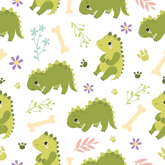 Pattern with cute dinosaurs
