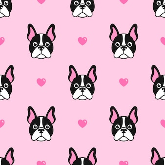 Pattern with cute dogs and hearts