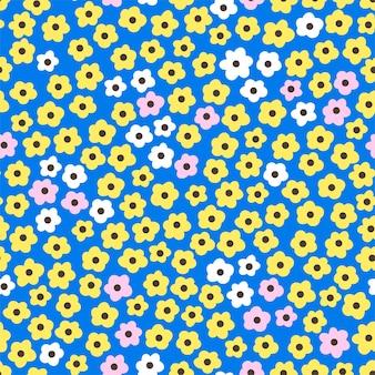 かわいい花のパターン。シームレスな背景パターン。漫画のイラスト。