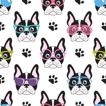Pattern with cute french bulldogs with glasses