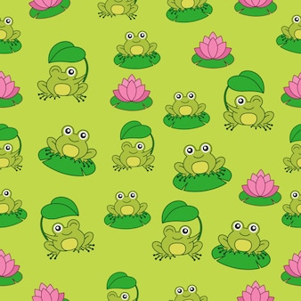 Pattern with cute frog character