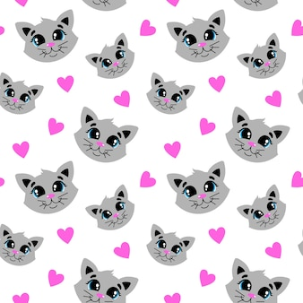 Pattern with a cute gray cat pattern