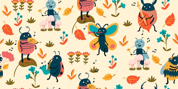 Pattern with cute insect musicians.