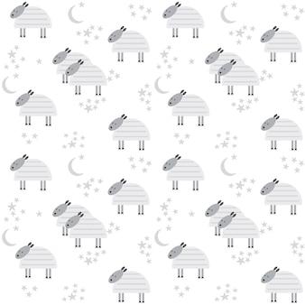 かわいい子羊、月、星のパターン。ベクトルイラスト