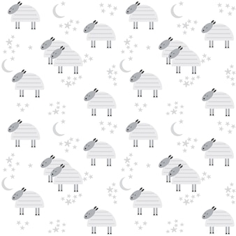 Pattern with cute lambs, moon and stars. vector illustration