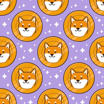 Pattern with cute shiba inu dog head on a coin