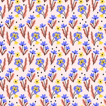 Pattern with cute tiny flowers on pink background