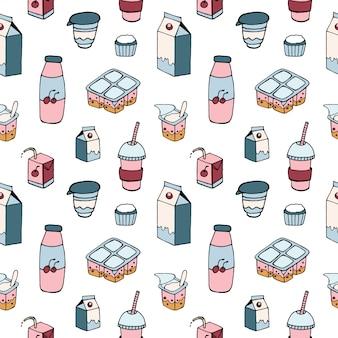白い背景に描かれた乳製品とパターン