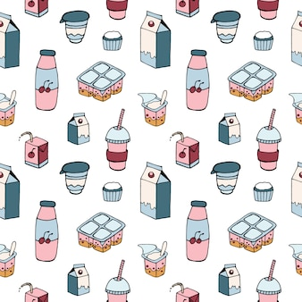 Pattern with dairy products drawn on white background