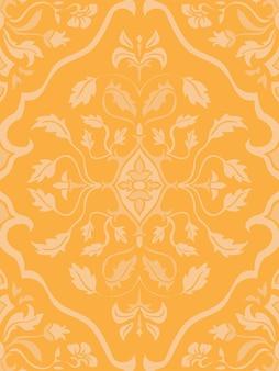ダマスク織のパターン。黄色の細線細工の飾り。壁紙、テキスタイル、ショール、カーペットのエレガントなテンプレート。