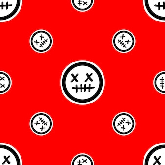 Pattern with dead face emojis on red background