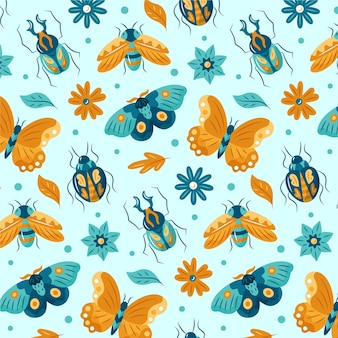Pattern with different insects and flowers