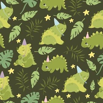 恐竜と椰子の枝のパターン