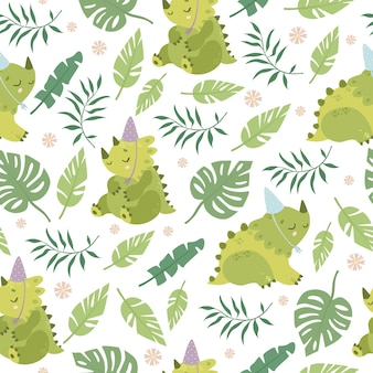 恐竜とヤシの葉のパターン