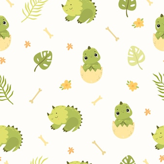 Pattern with dinosaurs dinosaurs in an egg cute dino seamless background with palm leaves