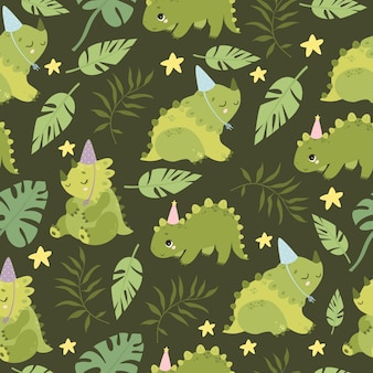 Pattern with dinosaurs and palm branches