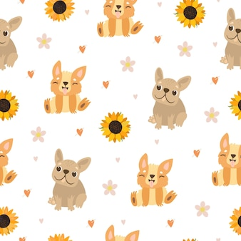 Pattern with dogs and sunflowers