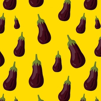 Pattern with eggplants on a yellow background
