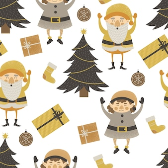 Pattern with elf and santa