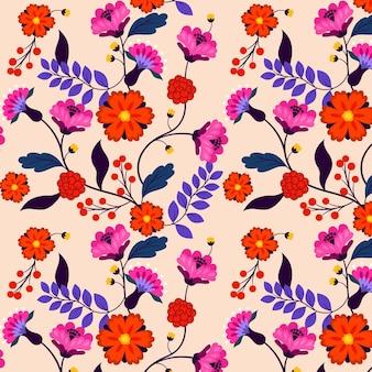 이국적인 꽃과 잎 패턴